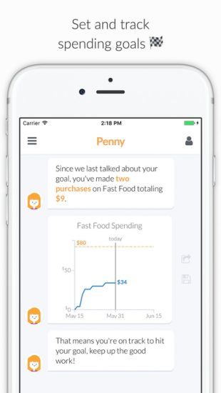 penny-example-of-personal-finance-chatbot-apps-spending-goals-screen